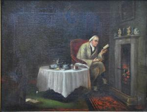 Herbert Sidney Palmer -  An Interior View With A Mathematician Boiling An Egg
