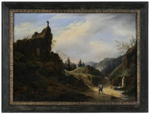 Francois Alexandre Pernot -  Landscape With Grotto Of The Blessed Virgin