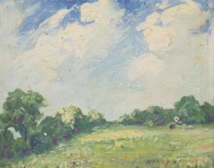 Harry R. Pfeiffer - Pastoral Landscape With Open Field And