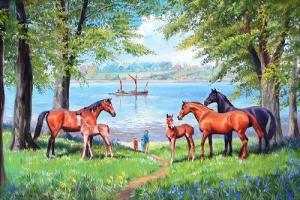 E. Richardson - Mares And Foals On The Banks Of The Orwell