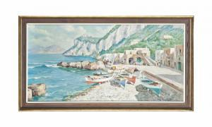 Giuseppe Salvati - An Italian Bay With Beached Rowing Boats