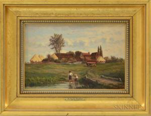 Frank Henry Shapleigh - An English Farmhouse At Kenilworth