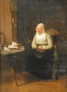Jacob Taanman - Woman And Cat In Interior