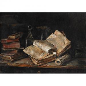 Henk Jan Ten Cate - Still Life Of Antiquarian Books And Vessels On A Ledge