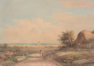John I Varley - Extensive Landscape With Windmills And Figures On A Country Path