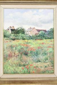 Laurent Vialet - A Rural Scene With Buildings And Floral Meadow