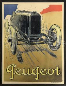 """René Vincent - Tthe Great Peugeot Racing Car At Speed With Noted Champion """"georges Boillot"""" At The Wheel."""