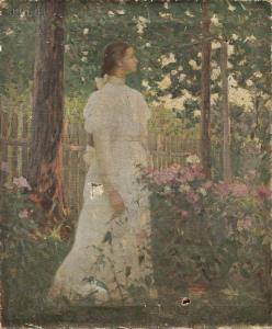 Jacob Wagner - Woman In White In A Garden