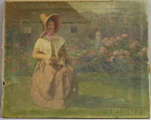 Jacob Wagner - Woman Seated In A Garden Landscape