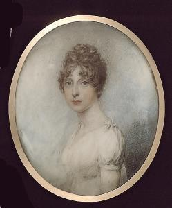 William Ii Wood - Miss Frances Wright, Wearing White Dress With Small Bow At Her Shoulder