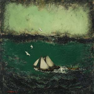 Ernst Zeuthen - Marine With Sailboat And Flying Seagulls